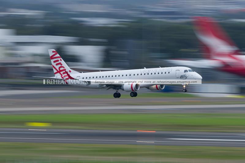 Virgin Australia Embraer 190 lands at Sydney airport.