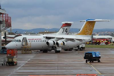 SE-DSP Malmo Aviation British Aerospace Avro RJ100 cn E3242 @ Exeter Airport / EGTE 16.03.16