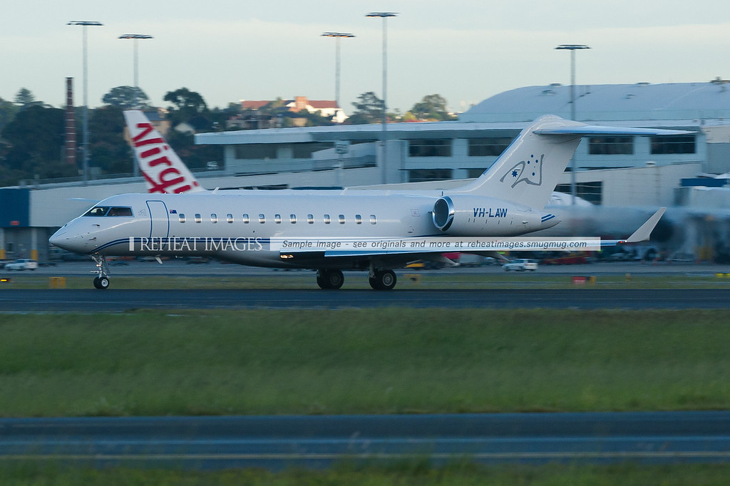 Walker Air Services' Bombardier Global Express leaves Sydney on a short flight to Essendon.