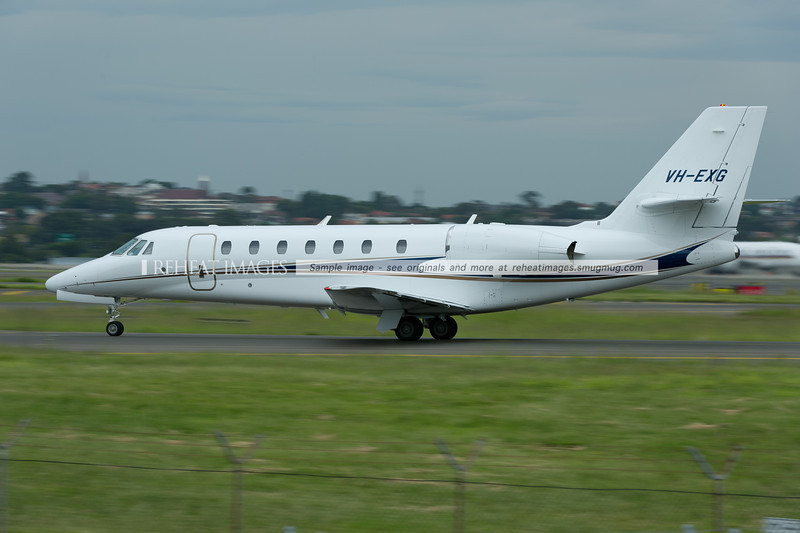 Executive Airlines Cessna 680 Citation Sovereign is taxiing out to runway 34 right.