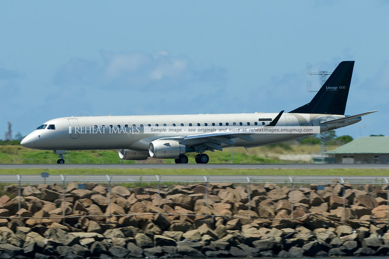Al Jaber Aviation's new Embraer Lineage 1000 business jet arrives in Sydney wearing promotional titles on the tail. The plane will eventually become A6-AJJ.