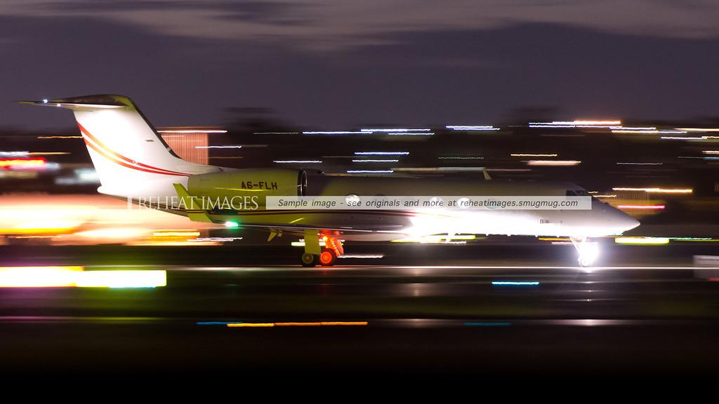 Gulfstream G-IV A6-FLH arrives in Sydney at night.
