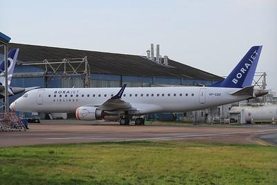 VP-CQV (TC-?) BoraJet Embraer ERJ-190LR cn 19000367 @ Exeter Airport / EGTE 11.01.15