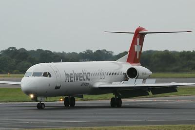 HB-JVG Helvetic Airways Fokker F100 c/n 11478 @ Manchester Airport / EGCC 01.08.14