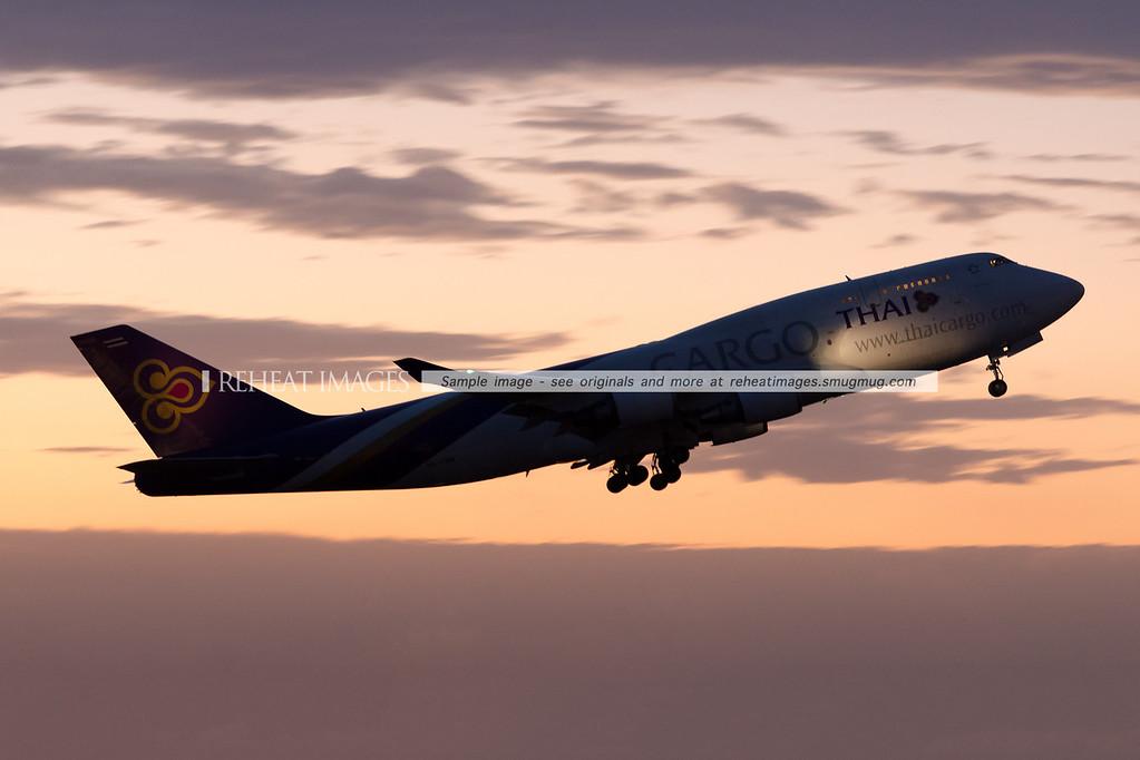 Thai Cargo, takeoff, sydney, reheat images, Boeing, B747, B747BCF