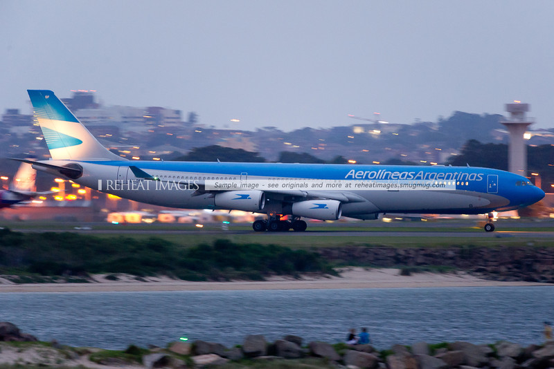 Aerolineas Argentinas A340-300 in the new colour scheme departs Sydney for the first time. LV-CSF is the registration.