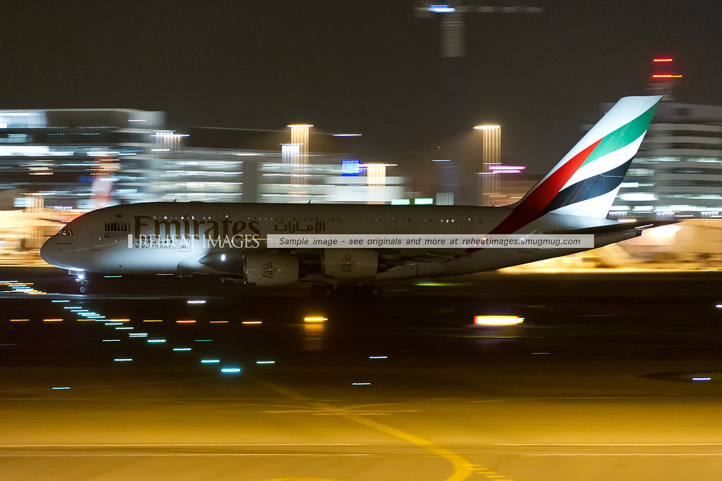 Emirates Airbus A380-861 leaves Sydney airport.