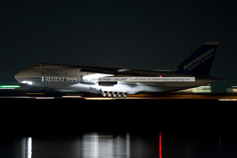 Antonov Design Bureau AN-124-100 UR-82029 leaves Sydney in July 2013 at night.
