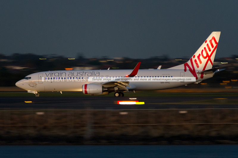Virgin Australia's Boeing 737-800 is especially distinctive at night with its blue interior mood-lighting, a feature of the Boeing Sky interior fitted to these new B737 planes.