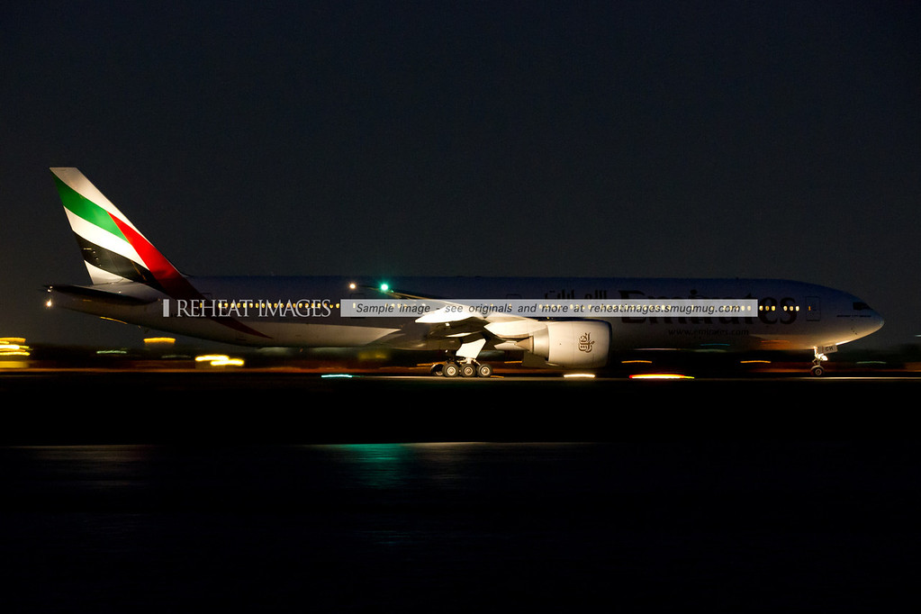 Emirates B777-300/ER at taxiing out to runway 34 left at Sydney airport.