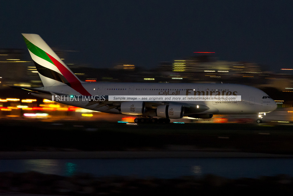 Emirates A380-861 in Sydney at night.