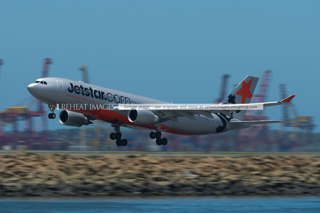 Jetstar A330-200 Airbus VH-EBS takes off from Sydney airport.