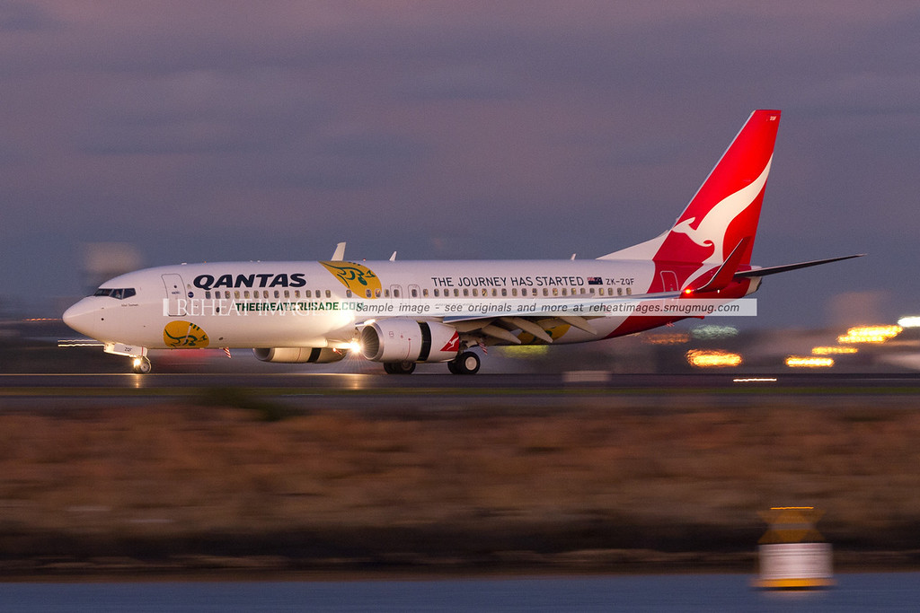 A JetConnect Qantas B737-800, registered in New Zealand carries a promotional colour scheme for the Qantas Wallabies, the Australian Rugby team. Quite ironic.