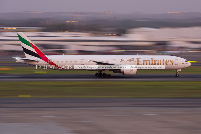 Emirates Boeing 777-300/ER departs Sydney airport.
