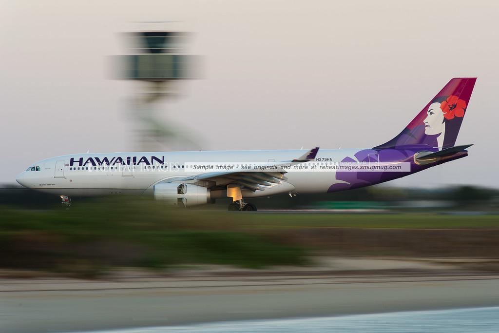 Hawaiian Airbus A330 lands at Sydney Airport