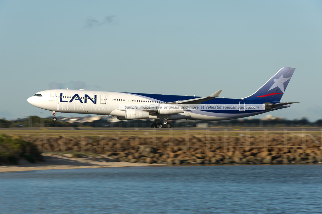 A Lan Airbus A340-300 takes off from Sydney airport.