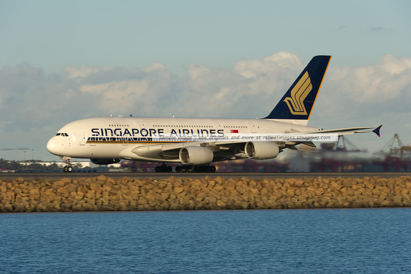 Singapore Airlines flight SQ222 takes off from Sydney airport. This service is operate by the Airbus A380-841.