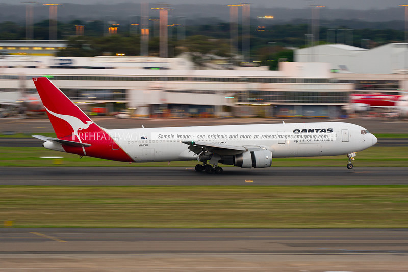A Qantas Boeing 767-336/ER lands at Sydney airport. This one of a number of B767-336 planes that Qantas acquired from British Airways.