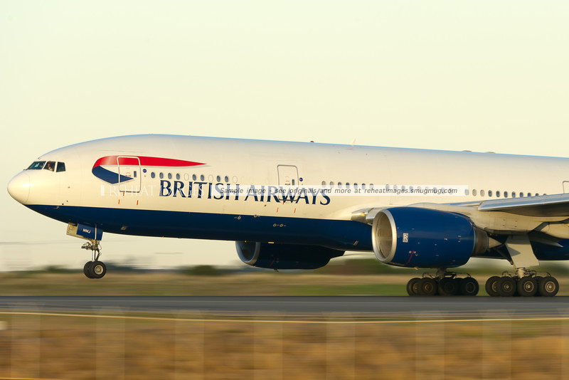 British Airways B777 takes off from Sydney airport. This plane was also somewhat delayed by the morning power failure in the international terminal.