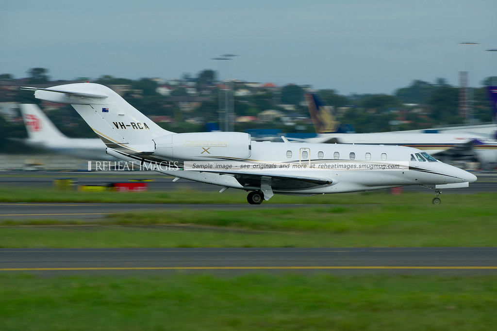 Cessna Citation X VH-RCA is a regular visitor to Sydney airport. It is seen here taxiing to the general aviation area. It looks fast even at low speed.