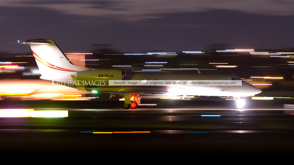 Gulfstream G-IV A6-FLH arrives in Sydney at night.