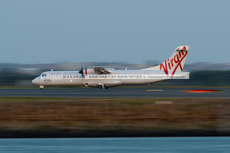 Virgin Australia has adopted these ATR72-500 aircraft for shorter range flights. Seen here moving at low speed, but with the low shutter speed making it appear to be moving fast.
