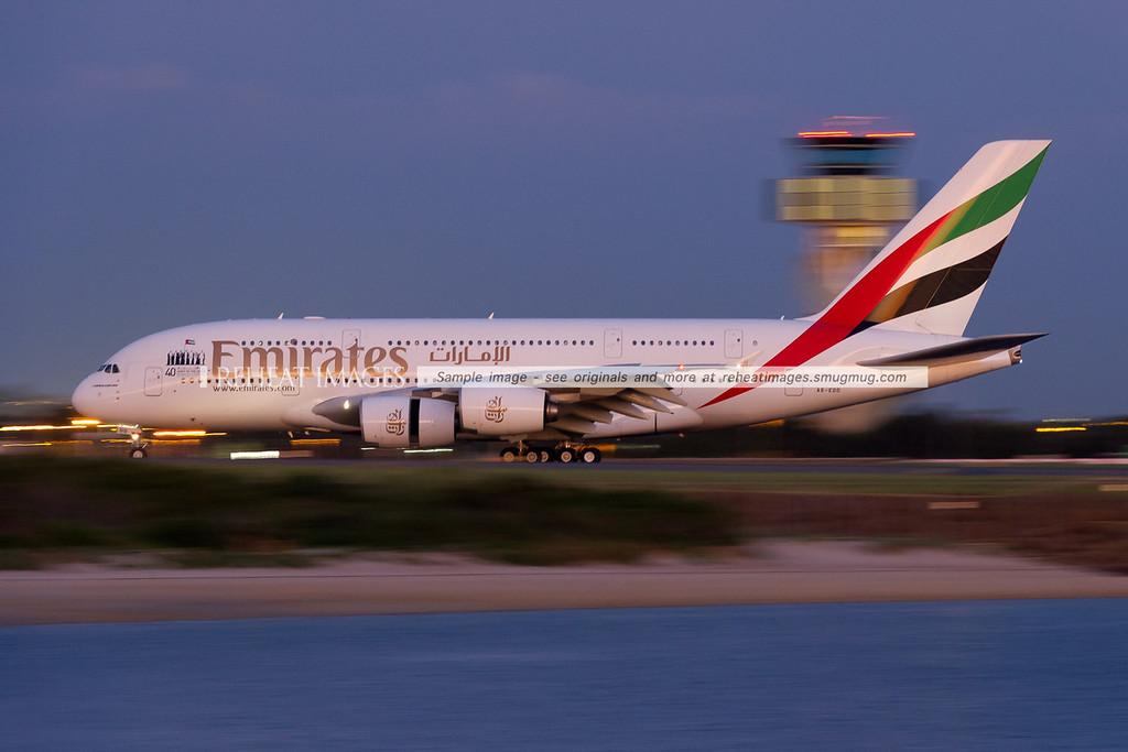 Emirates A380-861 A6-EDD slows down after landing at Sydney airport on runway 34 left. The plane wears a decal celebrating the federation of the 7 emirates forming the United Arab Emirates, Abu Dhabi, Ajman, Dubai, Fujairah, Ras al-Khaimah, Sharjah and Umm al-Quwain.