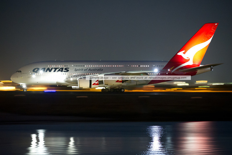 Qantas Airbus A380-842 VH-OQF is taxiing to the terminal after arriving in Sydney as QF32 from London via Singapore.