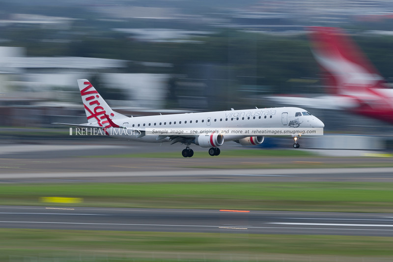 Virgin Australia Embraer 190 lands at Sydney airport.