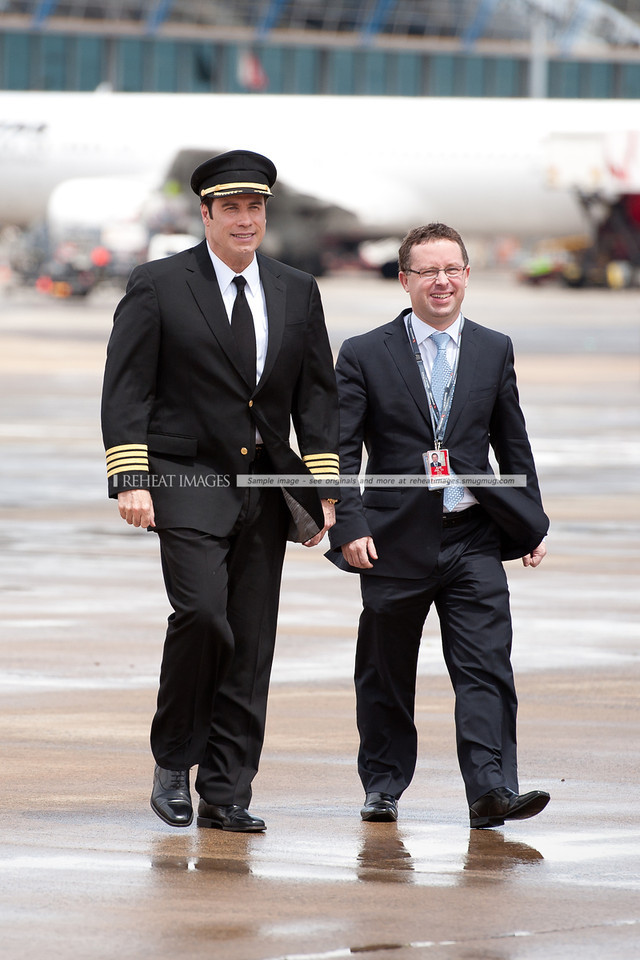 John Travolta and Qantas' Alan Joyce at the Qantas 90th anniversary celebrations in Sydney.