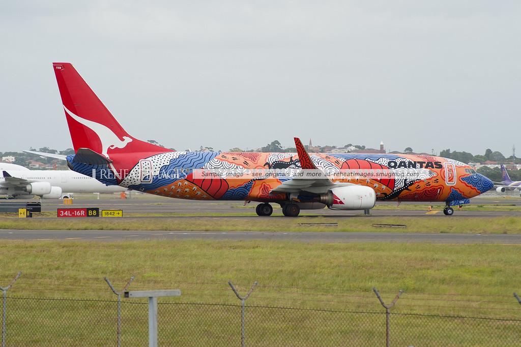 "Qantas Boeing 737-838 ""Yananyi Dreaming"" at Sydney airport."