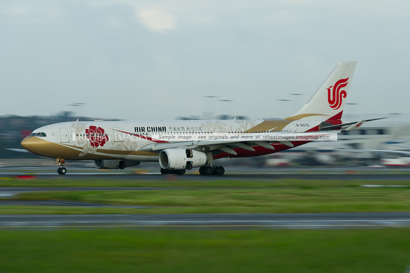 Air China Airbus A330 B-6075 arrives in Sydney. This plane wears the red Capital Pavilion colour scheme.
