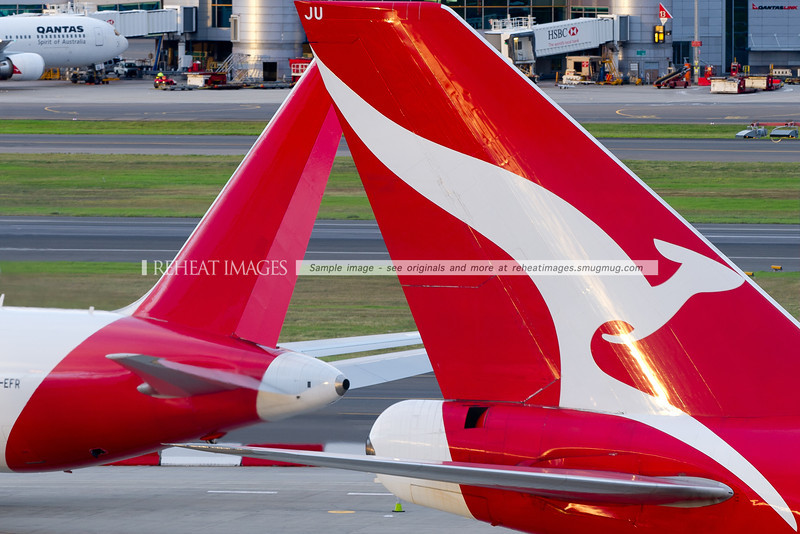 Tails of Qantas planes at Sydney airport, with VH-OJU, the B747-438 OneWorld alliance logo-jet and VH-EFR, the B767-381F freighter from Qantas Freight (Express Freighters Australia).