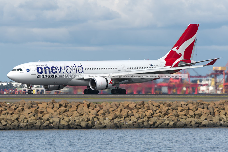 A Qantas Airbus A330-200 arrives in Sydney - it carries the Oneworld alliance colour scheme.