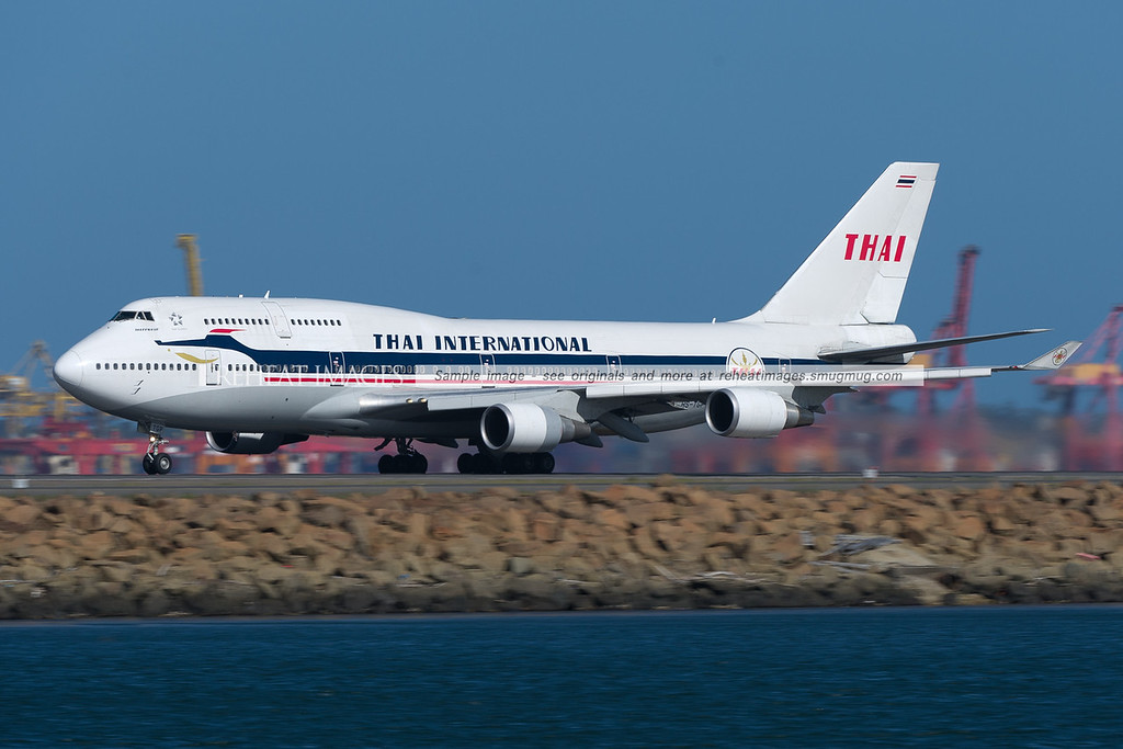 """Thai International"" retro colours on this Boeing 747-400 with the registration HS-TGP."
