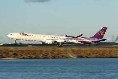 Thai Airbus A340 takes off from Sydney airport. Low shutter speed gives the impression of speed.