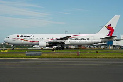 Air Niugini Boeing 767 departs Sydney airport.