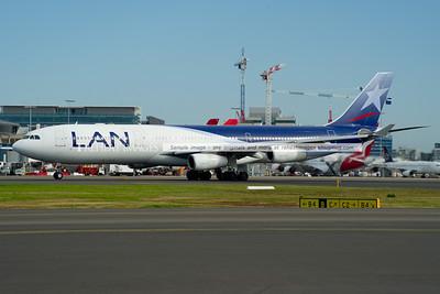 LAN Airbus A340-300 departs Sydney Airport.