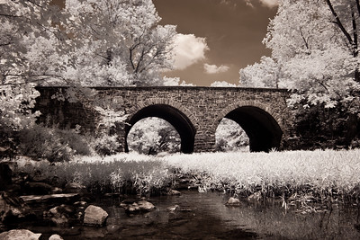 Stone Bridge crosses Bull Run in the Manassas National Battlefield Park in Manassas, Virginia. It was destroyed during the Battle of First Manassas on July 21, 1861, the first major land battle of the American Civil War.