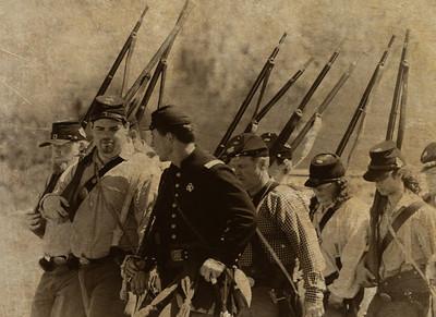 Soldiers Marching Civil War Reenactment Pierce College, Woodland Hills CA Nik Silver Efex filter