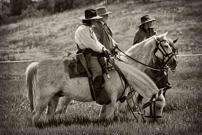 3 Soldiers on Horseback Civil War Reenactment Pierce College, Woodland Hills CA Nik Silver Efex filter