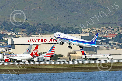 B777P 00498 A Boeing 777 ANA Airline JA779A takes off at SFO 12-2014 airliner picture by Peter J Mancus