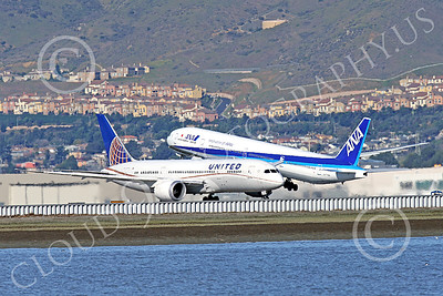 B777P 00496 A Boeing 777 ANA Airline JA779A takes off at SFO 12-2014 airliner picture by Peter J Mancus