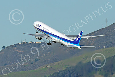 B777P 00500 A Boeing 777 ANA Airline JA779A climbs out after taking off at SFO 12-2014 airliner picture by Peter J Mancus