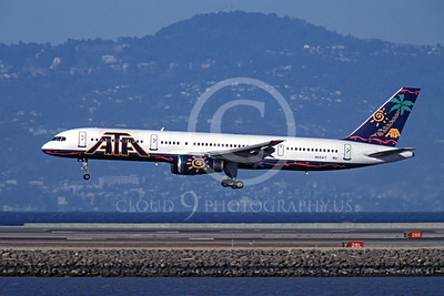 B757 00122 Boeing 757 ATA American Transnational Airline N519AT SFO October 2003 by Peter J Mancus
