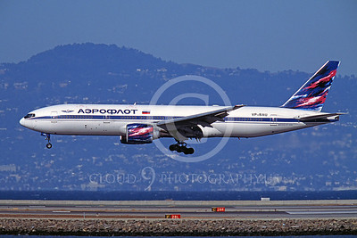 B777 00018 Boeing 777 Aeroflot Airline VP-BAU SFO October 2003 by Peter J Mancus