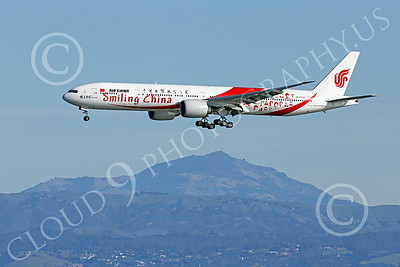 B777P 00470 A semi-rare color scheme Boeing 777 Air China SMILING CHINA B-2035 on final approach to land at SFO 12-2014 airliner picture by Peter J Mancus