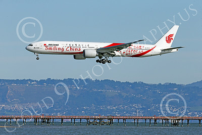 B777P 00472 A semi-rare color scheme Boeing 777 Air China SMILING CHINA B-2035 on final approach to land at SFO 12-2014 airliner picture by Peter J Mancus