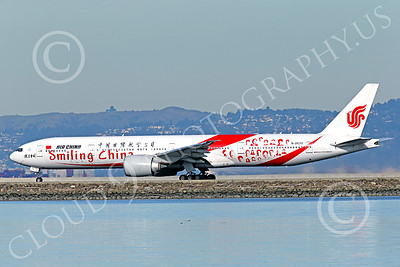 B777P 00479 A semi-rare color scheme Boeing 777 Air China SMILING CHINA B-2035 on take-off roll at SFO 12-2014 airliner picture by Peter J Mancus
