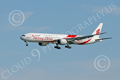 B777P 00468 A semi-rare color scheme Boeing 777 Air China SMILING CHINA on final approach to land at SFO 12-2014 airliner picture by Peter J Mancus